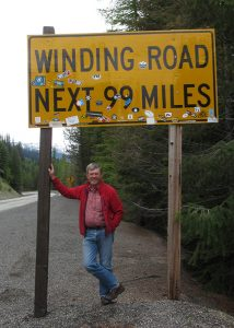 sandy compton winding road sign
