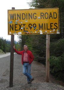sandy compton winding road sign
